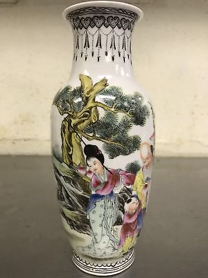 Chinese antique Famille Rose Porcelain vase with characters
