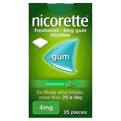 Nicorette Freshmint Chewing Gum, 4 mg, 25 Pieces (Stop Smoking Aid)  5/2020