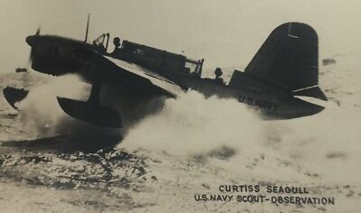 WWII US Navy Scout Curtiss Seagull Observation Postcard Military Aircraft