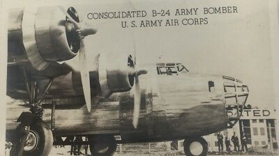 WWII US Consolidated B-24 Bomber US Army Air Corps Postcard Military Aircraft
