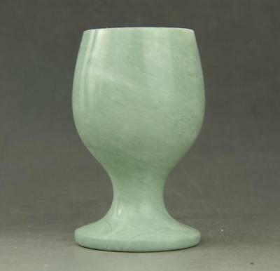 Chinese hand carved delicate Natura Jade Beautiful wine Cup a01