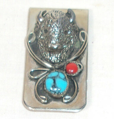 Western Silver Tone Money Clip With A Buffolo & Turquoise