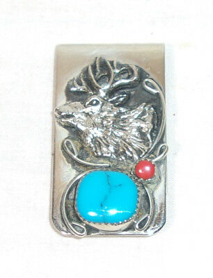 Western Silver Tone Money Clip With A Deer Or Elk & Turquoise