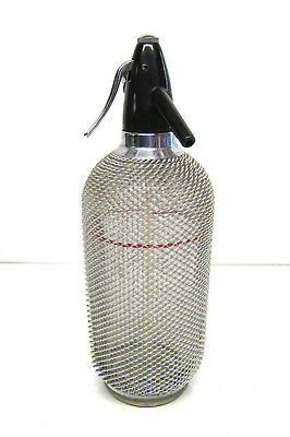 Soda Syphon Vintage Seltzer Bottle Wire Mesh Red Line Czechoslovakia VGC.