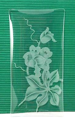 """VINTAGE HAWAIIAN ETCHED Floral Glass 12"""" Rectangular DECO ART by FRANK ODA"""