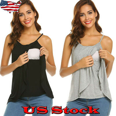 Maternity Clothes Breastfeeding Sleeveless Tank Tops Summer Nursing Vest T Shirt