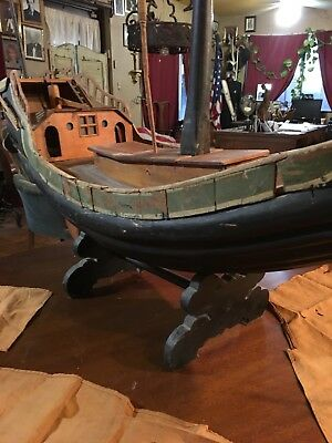 """Antique.Wooden Ship, Sailing Model Wooden Ship, Chinese """"Junk""""."""