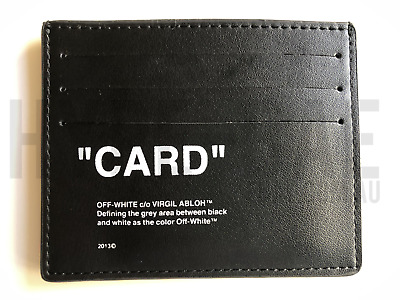 """Off-White c/o Virgil Abloh - Black Quote Card Holder """"Card"""" Leather Off White OW"""
