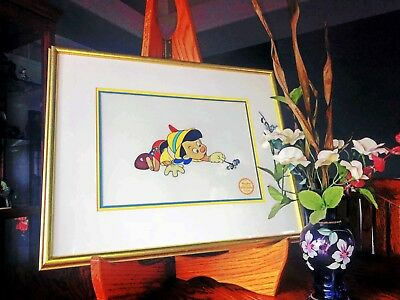 Disney's Pinocchio Limited Edition Serigraph Cel...pinocchio And Jiminy Cricket!