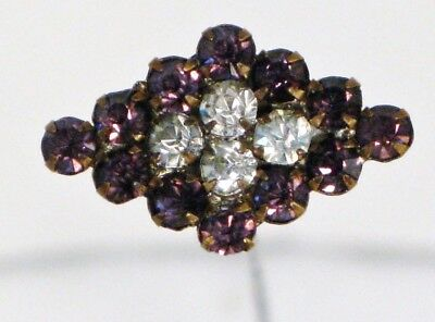 Vintage Purple & Clear Faceted Glass Crystal Rhinestone Diamond Shape Hatpin 10""