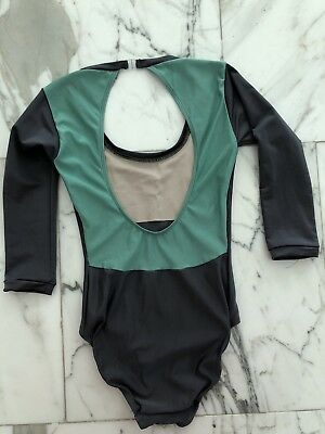 Eleve Ballet Leotard Custom In Grey And Mint 3/4 Sleeve Size Small