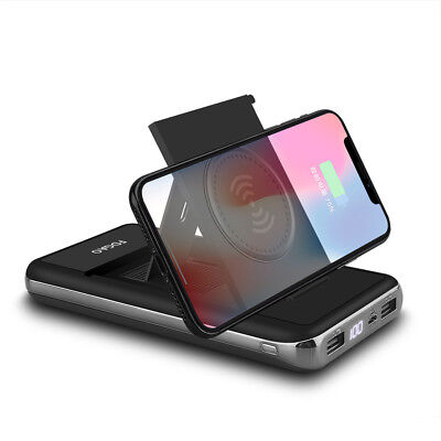 AU Qi Wireless Charger 20000mah Power Bank 2USB LCD Battery Fast For iPhone 8 X