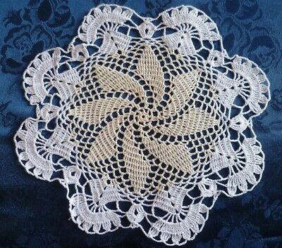 VINTAGE  HAND CROCHETED WHITE DOILEY WITH CREAM CENTRE 23.5 cms across
