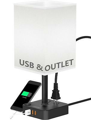 COZOO USB Bedside Table  Desk Lamp with 3 USB Charging Ports and 2 Outlets Power
