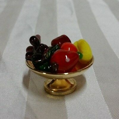 "Vintage Collectible Miniature Brass ""FRUIT BOWL STAND WITH 5 GLASS FRUITS"""