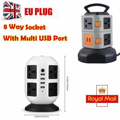 10Way 2M Extension Lead Cable Surge Protected Tower Power Socket with USB Port