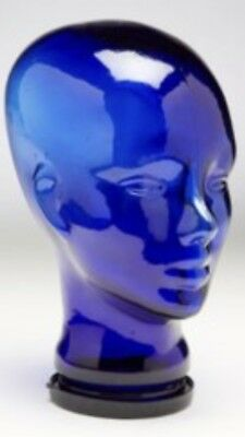 Glass Man Head. Glass container with plastic lid serving as base. Cobalt blue.