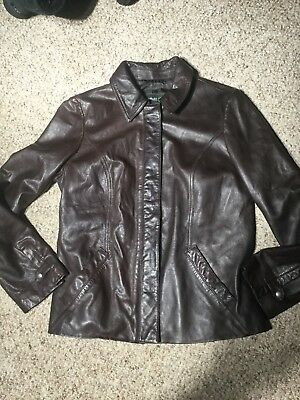 292d6e01d52 Women s Eddie Bauer Brown Genuine Lamb Leather Jacket Zip Up Coat Size  Medium