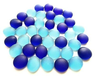 40 x Frosted Double Blues Mosaic Artist Craft Pebble Glass Gem Stones