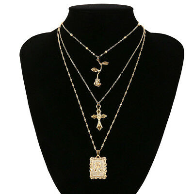 Personality Rose Personality Cross Round Pendant Necklace Jewelry bf93