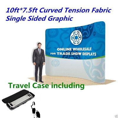 """10"""" Curved Fabric Tension Backwall Pop Up Display Trade Show With Single Graphic"""