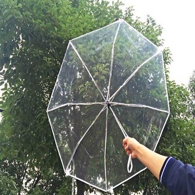 Automatic Open Close Folding Transparent Clear Umbrella Compact Windproof Rain