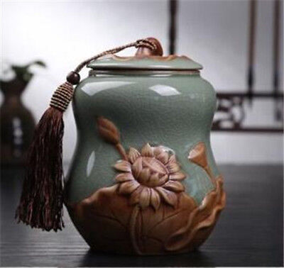 China ceramic jar gourd lotus tea caddy Tea Storage Canister Jar Container New