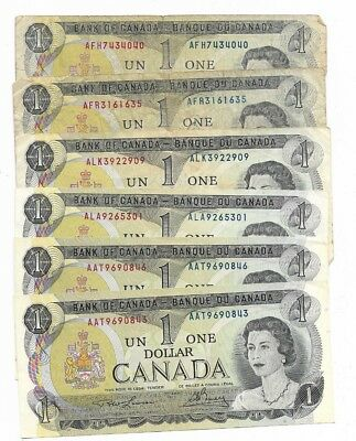 1973 Canadian One Dollar Notes x 6