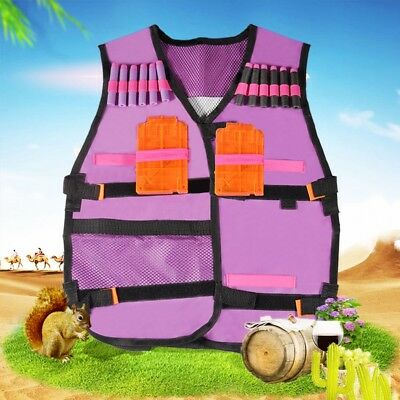 Tactical Vest Jacket Kids Girl Toy Gun Jacket Bullet For Nerf N-Strick Purple