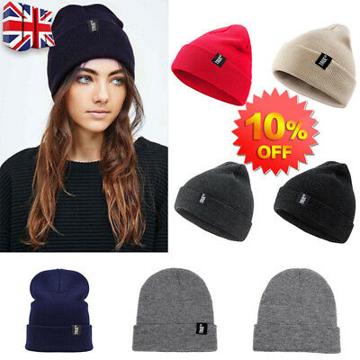 4a45473fd02d8f Mens Ladies Knitted Woolly Winter Oversized Slouch Beanie Hat Cap  skateboard UK