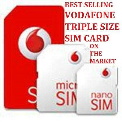 Vodafone Sim Card Pay As You Go Standard Micro Nano