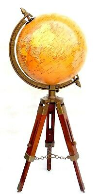 Vintage Brass Antique World Map Table Tripod GLOBE ORNAMENT With Wooden Stand