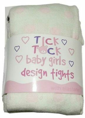 Baby Girls Tick Tock Tights Knitted Cotton Rich   ~  Cream with Pink Polka Dots