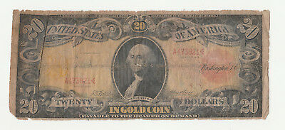 1905 $20 Technicolor Gold Certificate Note Ungraded S/N A473921