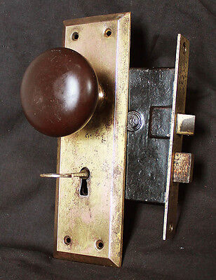 Cleaned Antique Vintage Brass Steel Interior Door Lockset Knob Plate Lock Key