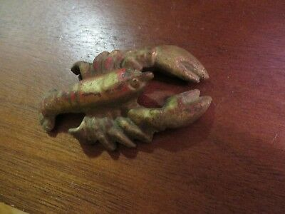 vintage old cast iron lobster paperweight painted gold red