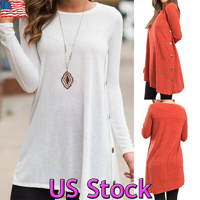 Women's Casual Long Sleeve Loose Tunic Top T-Shirt Round Hem Mini Dress Blouse