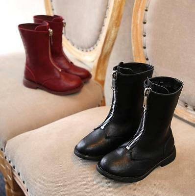 Kids Girls Fashion Leather Mid Calf  Knee high Riding Boots Casual School Shoes