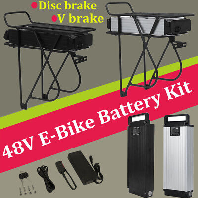 Electric Bike Ebike 48V 13AH 14AH 18AH 1000W Li-ion Battery Rack Conversion kit