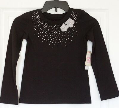 BRAND NEW! Faded Glory Girls Black Embellished Long Sleeve Tee Shirt  Small 6-6X