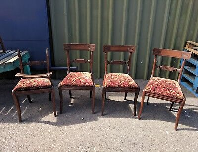Set Of Four 19th Century Mahogany Dining Chairs (Restoration Required)