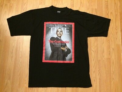 "Time Magazine Cover T Shirt Pres. Obama ""the Contender"" Black Adult XL EUC"