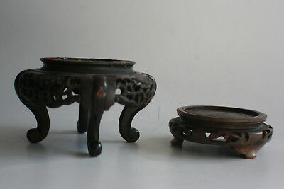 2 Pcs Antique Chinese Wooden Carved Stand