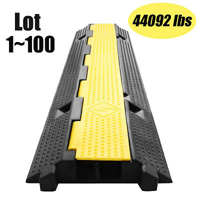 2Channel Heavy Duty Wire Cover Cable Cord Road Ramp Protector PVC And Rubber Lot