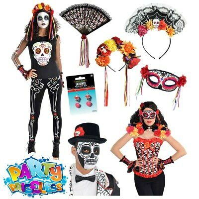 Mens Ladies Day Of The Dead Sugar Skull Halloween Mexican Fancy Dress Womens