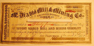 1881 Mt. Diablo Mill and Mining Company Stock Certificate