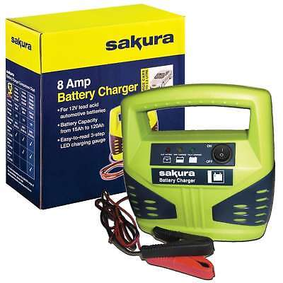 Sakura Battery Charger 8 Amp 12V Lead Acid Automotive Batteries Easy Read