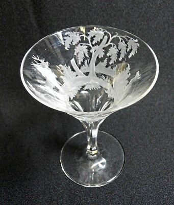Antique - Victorian Clear Sherry / Wine Glass - Etched Deer / Wild Life- c1900-