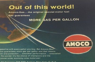 1958 American Oil Co. Amoco Venture Into Space Map by Rudy de Reyna