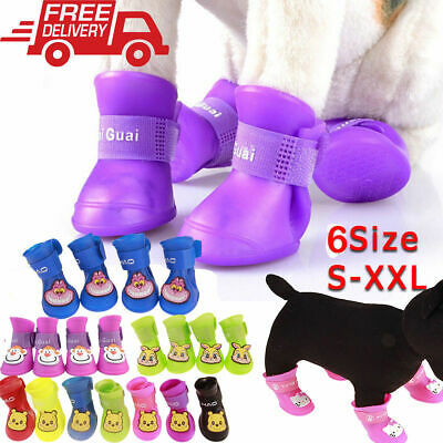 6 Sizes WaterProof Pet Rain Shoes Socks Anti-slip Rubber Boots for Small Big Dog